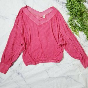 Free People Pink South Side V-Neck Thermal Top